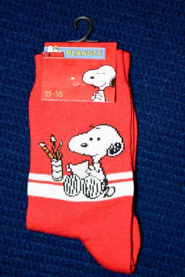 Raudonos kojinytės su linksmu piešinuku