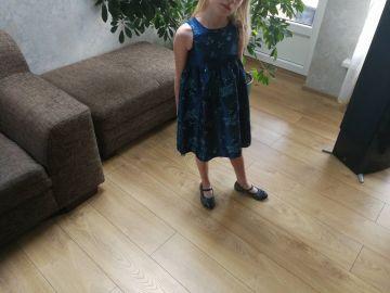 Puošni mėlyna suknelė 2-4 metų mergaitei