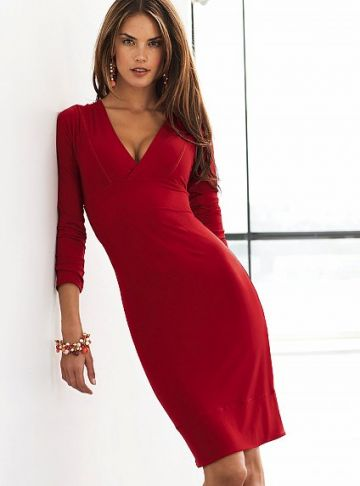 289. V-neck curvy jersey dress -