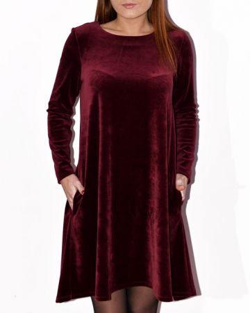 Bordo spalvos veliūrinė suknelė