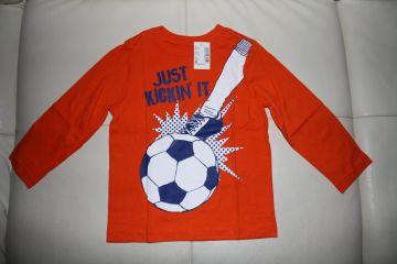 Ryški oranžinė palaidinė su futbolo kamuoliu 3 m. berniukui