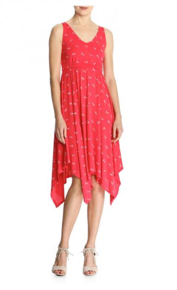 Raudona suknelė karpyta apačia