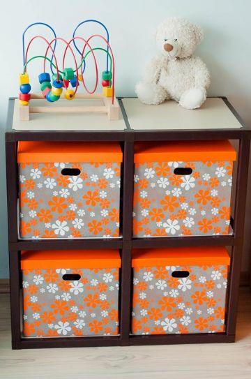 Daugiafunkcinė sulankstoma oranžinė daiktadėžė žaislams, rankdarbiams ar kitiems daiktams laikyti
